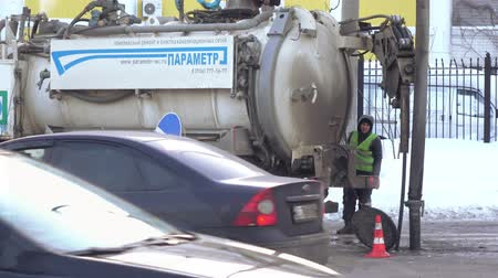 грузовики : Sewage machine on the street