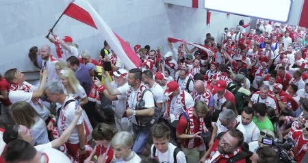 poland : Football fans of Poland Metro