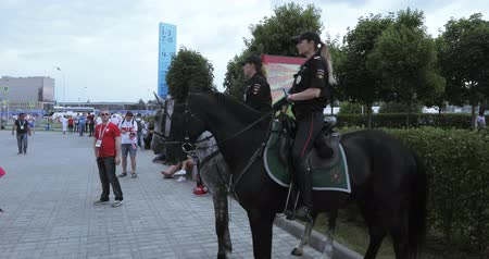 poland : Mounted police among the fans Stock Footage