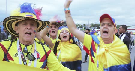 id : Football fans of Colombia Stock Footage