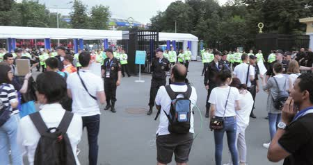 steward : Exit the stadium and police Stock Footage