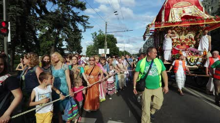 dancing people : Ratha Yatra in city of Dnepr