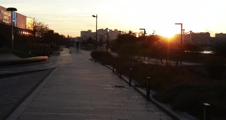 merdiven : Quay at sunset near the Tretyakov Gallery Stok Video