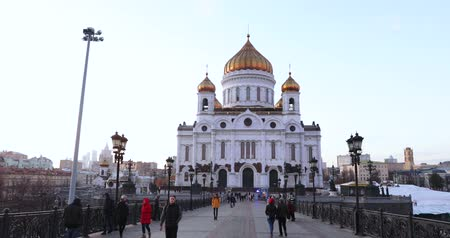 saviour : Path along the Patriarchal Bridge to the Cathedral of Christ the Savior Stock Footage