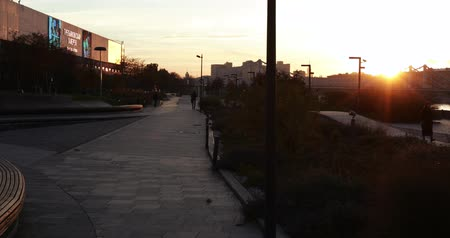 bitter : Quay at sunset near the Tretyakov Gallery Stock Footage