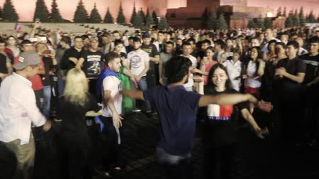 Football fans dance on Red Square