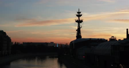 The silhouette of the Monument to Peter the First by Zurab Tsereteli at sunset