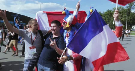 Football fans of France Stock Footage