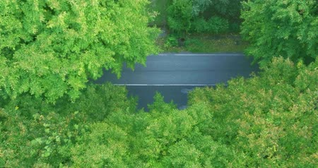 kormányoz : Car traffic on the road. Country road with a solid line marking aerial shot, top view Stock mozgókép