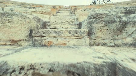 gladiatorial : Fast climbing stairs In an ancient place in the amphitheater Kourion Cyprus Theater POV Shot Stock Footage
