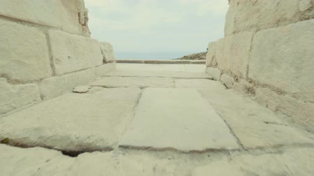 gladiatorial : POV passage to the amphitheater Kourion Cyprus Theatre through the corridor of ancient city-state