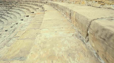 gladiatorial : Kourion Cyprus Theatre Ruins of the ancient amphitheater POV SHOT