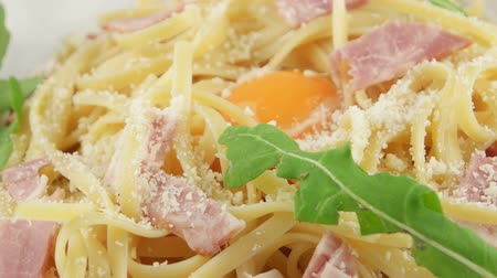 beef dishes : Italian pasta Carbonara with parmesan, yolk and bacon