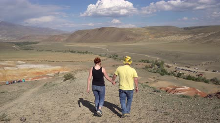 ouvido : A pair of lovers walking through picturesque hills holding hands 4k. Vídeos