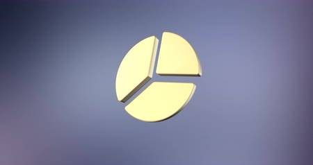 turta : Animated Pie Chart Gold 3d Icon Loop Modules for edit with alpha matte