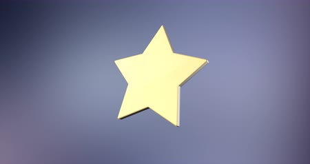 trofej : Animated Wide Star Gold 3d Icon Loop Modules for edit with alpha matte