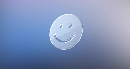 emoticon : Animated Smile Glass 3d Icon Loop Modules for edit with alpha matte