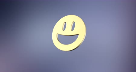 smilies : Animated Emoticon Happy Gold 3d Icon Loop Modules for edit with alpha matte