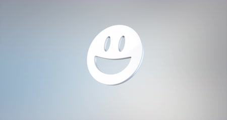 emoticon : Animated Emoticon Happy White 3d Icon Loop Modules for edit with alpha matte