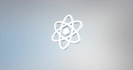 atomový : Animated Atom White 3d Icon Loop Modules for edit with alpha matte