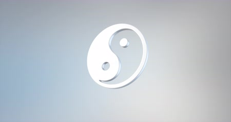 yinyang : Animated Yin White 3d Icon Loop Modules for edit with alpha matte
