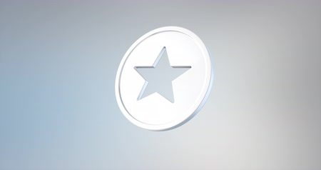 elszigetelt : Animated Star Badge White 3d Icon Loop Modules for edit with alpha matte Stock mozgókép