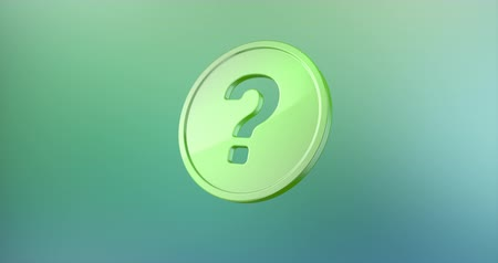 sorular : Animated Question Badge Color 3d Icon Loop Modules for edit with alpha matte
