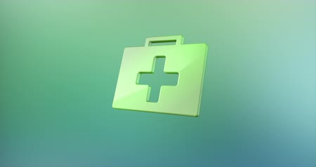 first aid kit : Animated First Aid Medical Kit Color 3d Icon Loop Modules for edit with alpha matte
