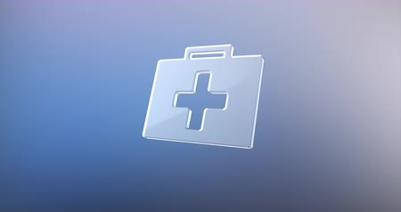 first aid kit : Animated First Aid Medical Kit Glass 3d Icon Loop Modules for edit with alpha matte Stock Footage