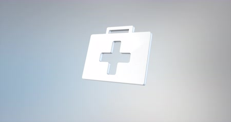 first aid kit : Animated First Aid Medical Kit White 3d Icon Loop Modules for edit with alpha matte Stock Footage