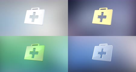 first aid kit : Animated First Aid Medical Kit 3d Icon Loop Modules for edit with alpha matte