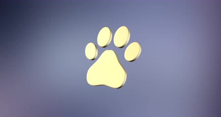 print shop : Animated Paw Gold 3d Icon Loop Modules for edit with alpha matte