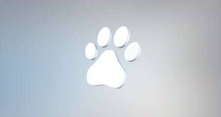 claw feet : Animated Paw White 3d Icon Loop Modules for edit with alpha matte