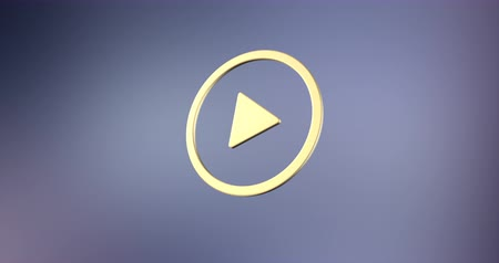 кнопка : Animated Play Video Gold 3d Icon Loop Modules for edit with alpha matte Стоковые видеозаписи