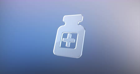 prescrição : Animated Medical Pill Bottles Glass 3d Icon Loop Modules for edit with alpha matte