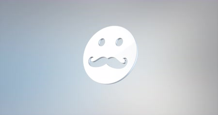 bigodes : Animated Mustache Man White 3d Icon Loop Modules for edit with alpha matte