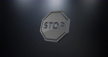 icona modifica : Animated Stop Black 3d Icon Loop Modules per la modifica con mascherino alfa Filmati Stock