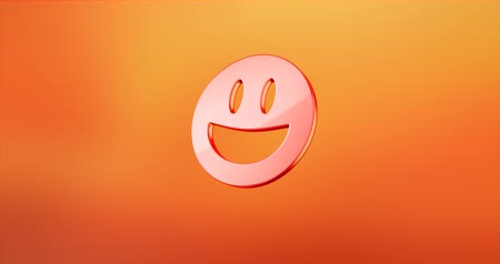 smilies : Animated Emot Happy Red 3d Icon Loop Modules for edit with alpha matte Stock Footage