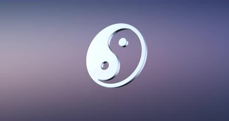 yinyang : Animated Yin Silver 3d Icon Loop Modules for edit with alpha matte