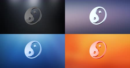 yinyang : Animated Yin 3d Icon Loop Modules for edit with alpha matte