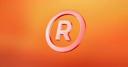 infraccion : Animated Register Trademark Red 3d Icon Loop Módulos para editar con mate alfa Archivo de Video