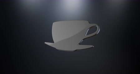 icona modifica : Tazza di caffè animata Nero Moduli Loop di icone 3d per la modifica con alfa matte
