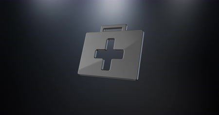 first aid kit : Animated First Aid Medical Kit Black 3d Icon Loop Modules for edit with alpha matte