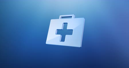 first aid kit : Animated First Aid Medical Kit Blue 3d Icon Loop Modules for edit with alpha matte