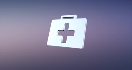 first aid kit : Animated First Aid Medical Kit Silver 3d Icon Loop Modules for edit with alpha matte
