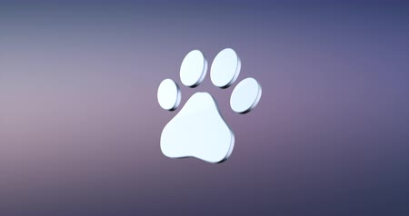 gato selvagem : Animated Paw Silver 3d Icon Loop Modules for edit with alpha matte
