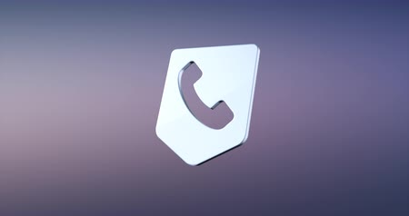 icona modifica : Animated Call Phone Map Pin Argento 3d Icon Loop Modules per la modifica con mascherino alfa Filmati Stock