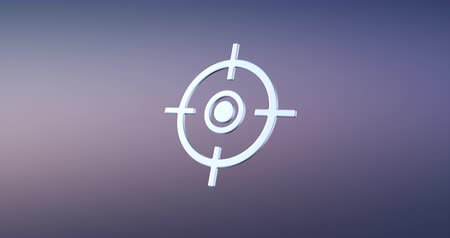 crosshair : Animated Target Crosshair Silver 3d Icon Loop Modules for edit with alpha matte Stock Footage