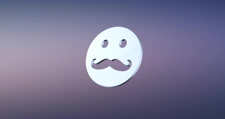 bigodes : Animated Mustache Man Silver 3d Icon Loop Modules for edit with alpha matte