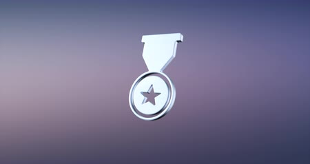 trofej : Animated Medal of Honor Silver 3d Icon Loop Modules for edit with alpha matte Dostupné videozáznamy
